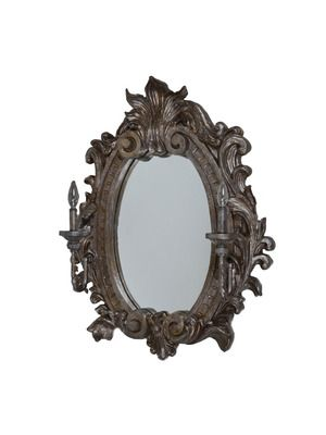Damask Wood Mirror with Electric Sconces by Tiger Lily on Gilt Home