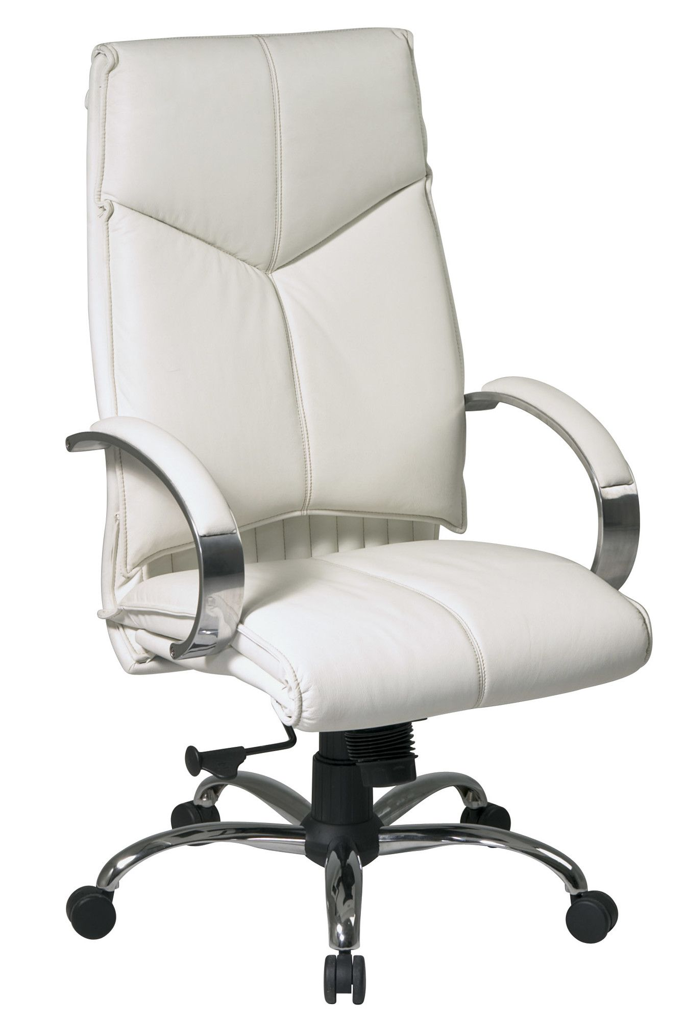 This Was Least Expensive White High Back Chair I Could Find That Had Real Leather Great P White Leather Chair