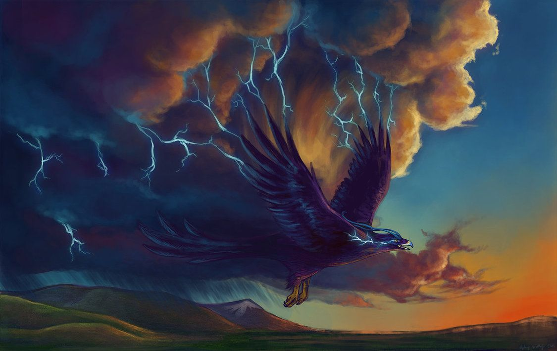Mythical creatures: thunderbird. (Click for more creatures) - the Native Americans believed that certain birds brought storms with them. The myth probably originated when they noticed birds would soar long and high on the warm updrafts that roll through before a storm.
