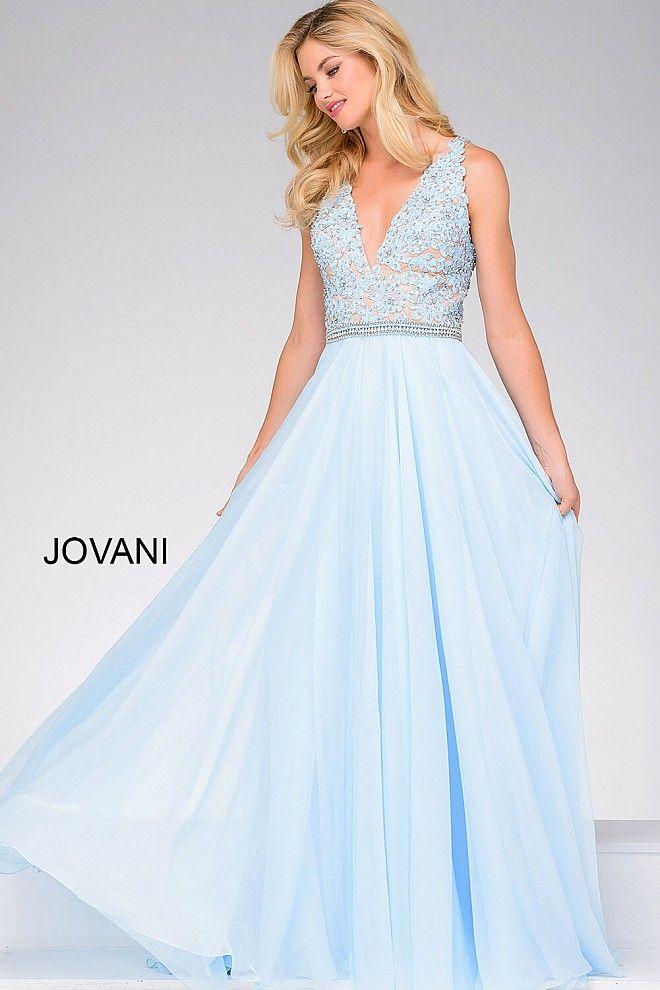 f480b38e6d4 Light Blue V Neck Lace Bodice Prom Dress 47948 in 2019