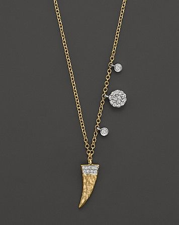 62f166ecb62 Meira T Diamond Horn Necklace in 14K Yellow Gold, .19 ct. t.w., 16 ...