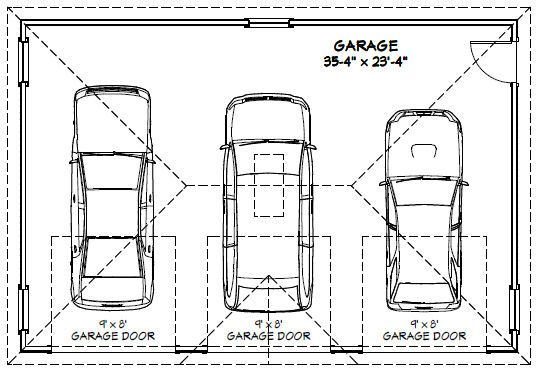 3 car garage floor plans inspiration decorating 39579 for What is the size of a standard garage