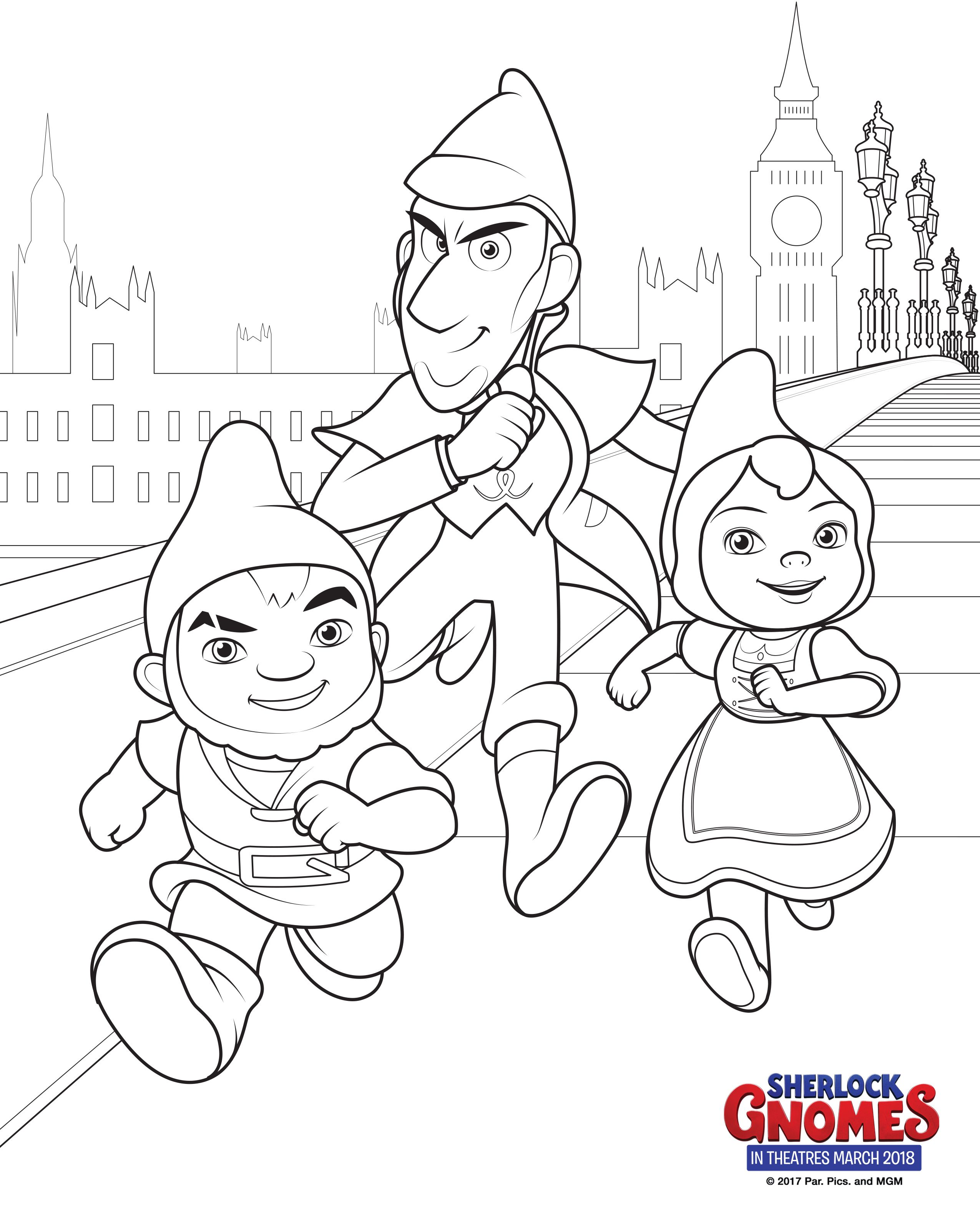 Sherlock Gnomes Coloring Pages + Books Cartoon coloring