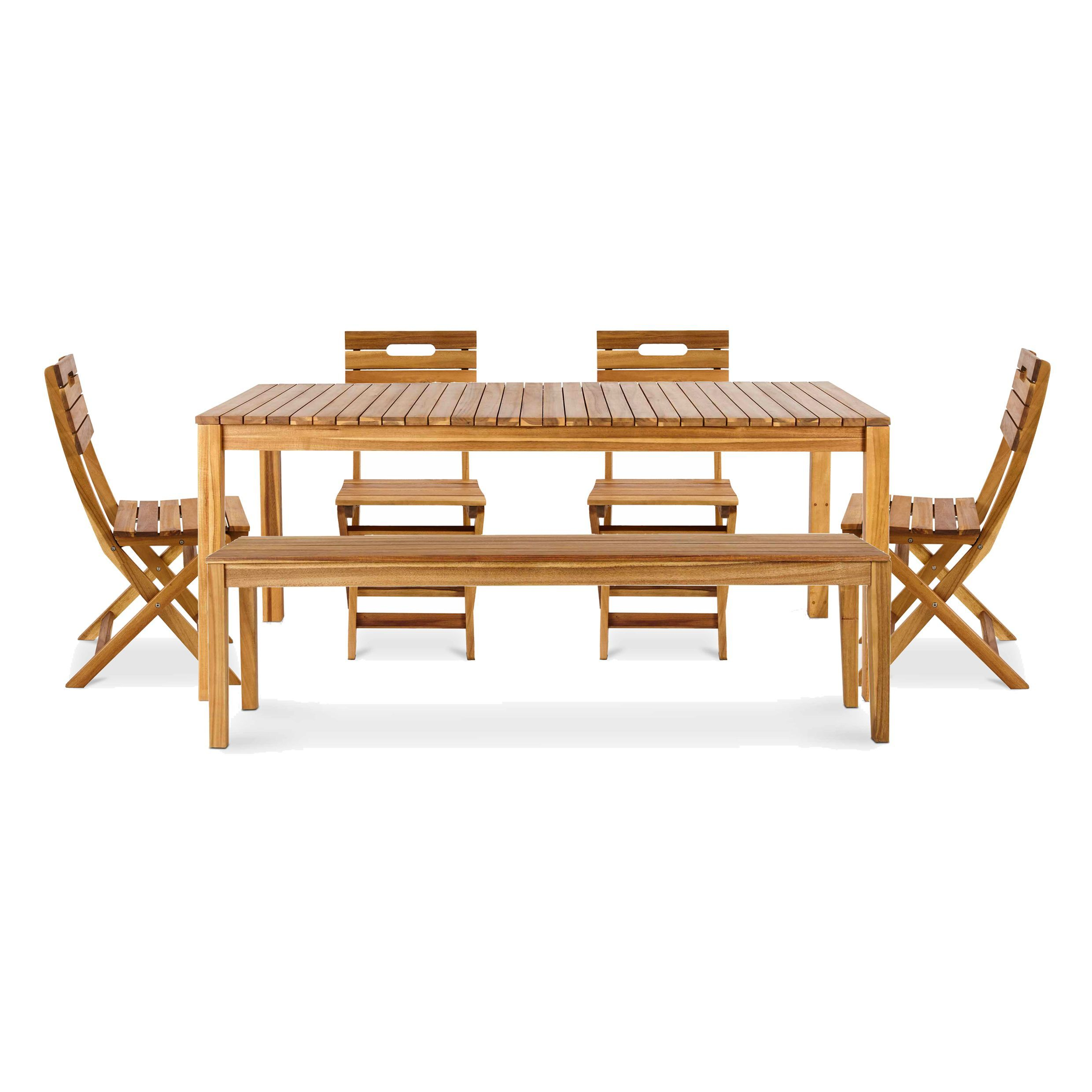 Wooden Garden Benches B Q: Denia Wooden 6 Seater Dining Set With Bench
