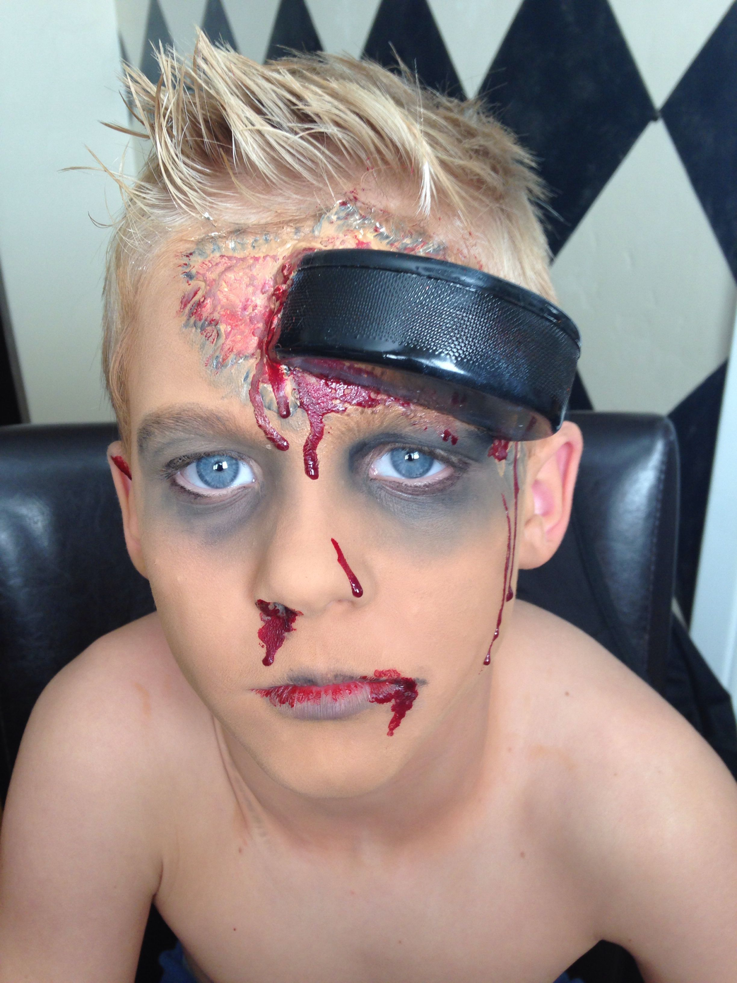 Zombie Hockey Player Makeup With Images Hockey Halloween Costume Hockey Halloween Zombie Costume