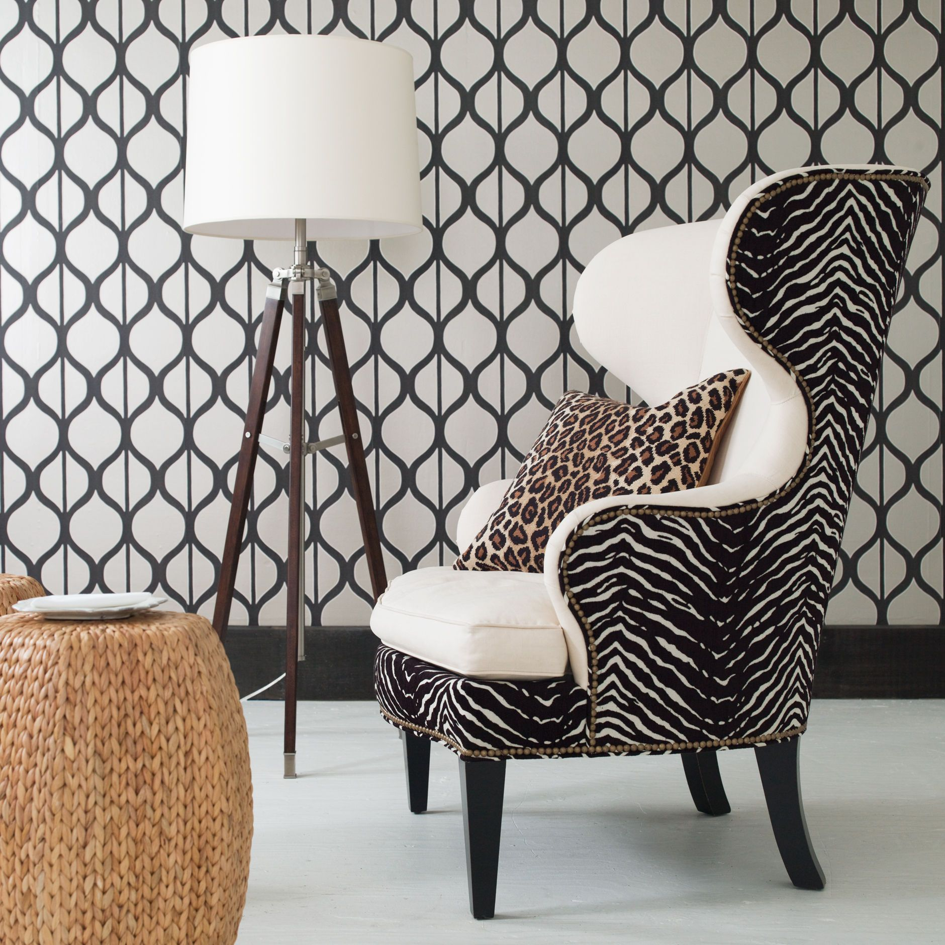 Wonderful Black And White Furniture. Rand Wing Chair   Ethan Allen US