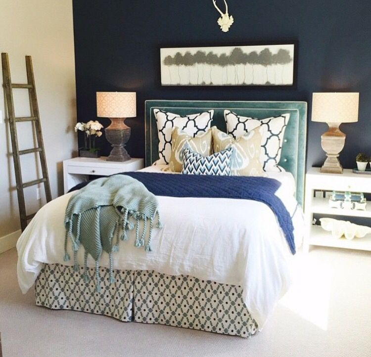 Wall Bedroom Decor Gorgeous Navy Accent Wall And White Bedding #futurebed  Bedroom Décor 2018
