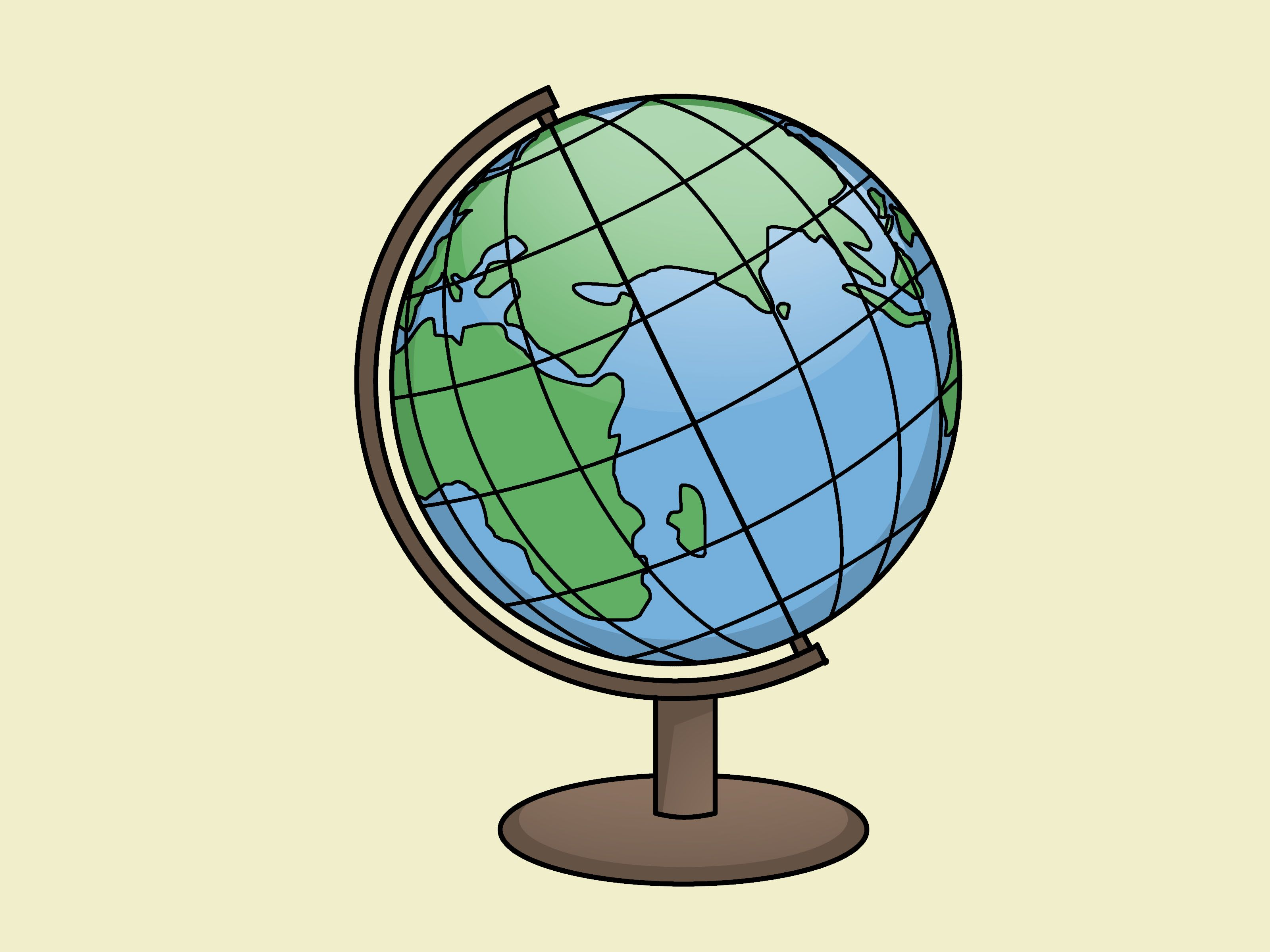 how to draw a globe for kids