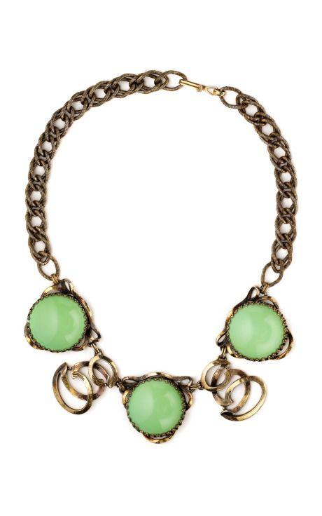 Look Schiaparelli Mint Stone Open Work Necklace
