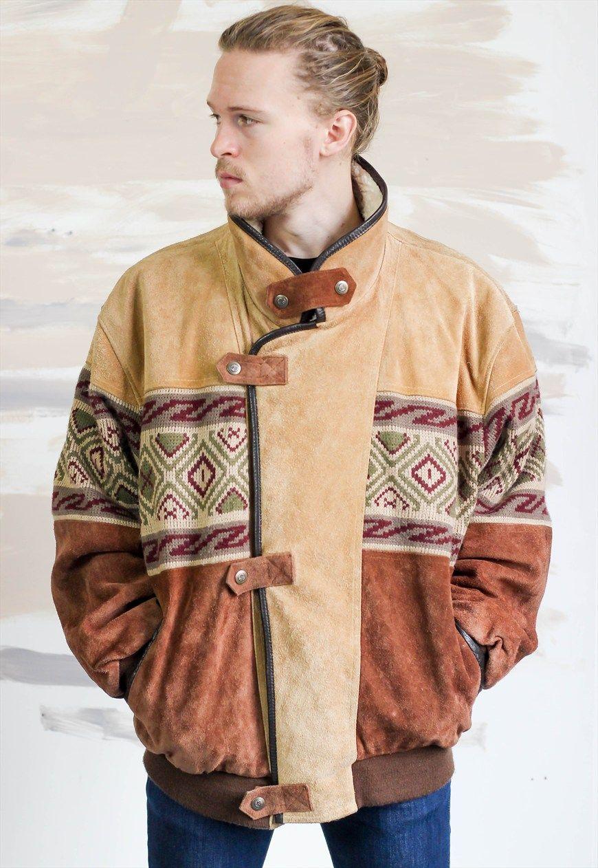 Vintage Aztec Navajo Sheepskin Bomber Jacket 619 Vintage Jackets Aztec Clothing Bomber Jacket [ 1262 x 870 Pixel ]