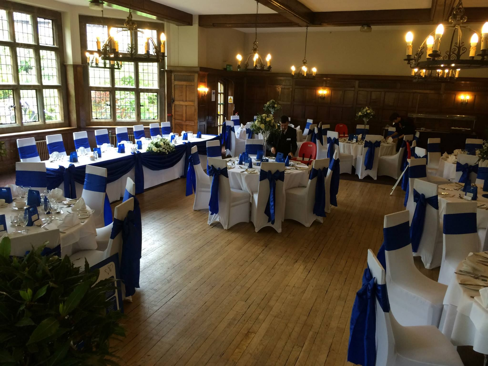 Wedding decorations with royal blue  Reception room at our venue in our colour royal blue  Wedding