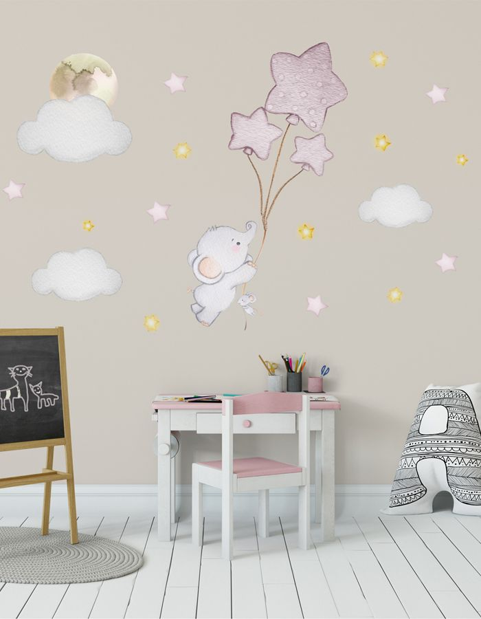 Balloon Nursery Gold Nursery Wall Sticker Elephant Balloon Wall