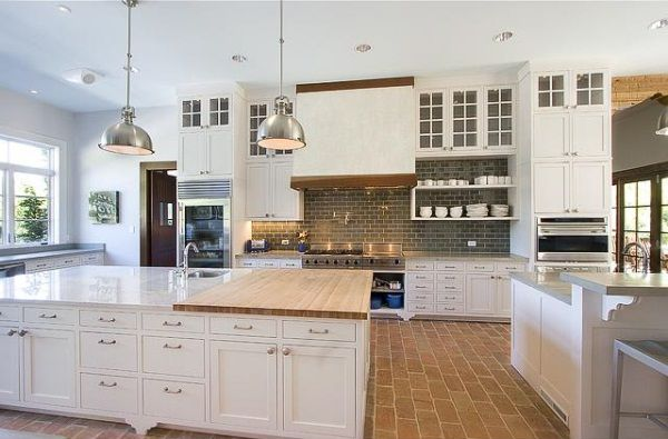 White Country Kitchen With Butcher Block nashville manse classes up the joint | brick flooring, bricks and