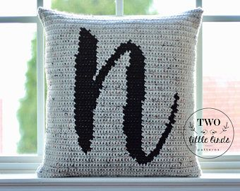 Crochet monogram pillow pattern personalized crochet home | Etsy
