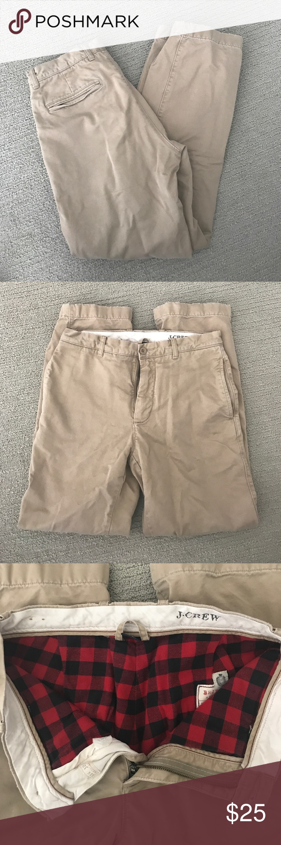 J crew lined winter khakis J crew chino khakis. Excellent condition. They are perfect for winter! Lined all the way down on the inside with a pajama feeling lining. Waist is a 31 and length is 32 J. Crew Pants Chinos & Khakis