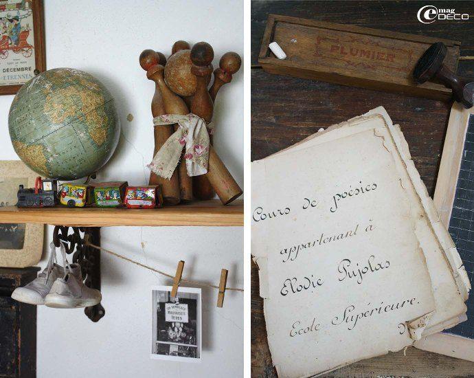Détails de la salle de jeux, jouets anciens et cahiers d'écolier