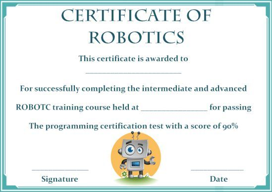 12 Robotics Certificate Templates For Training Institutes Trainers