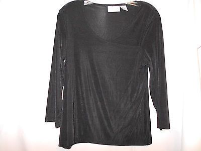 Jaclyn Smith Classic Wrap Black Top Size Medium Nylon Spandex 3/4 Sleeve $10.50