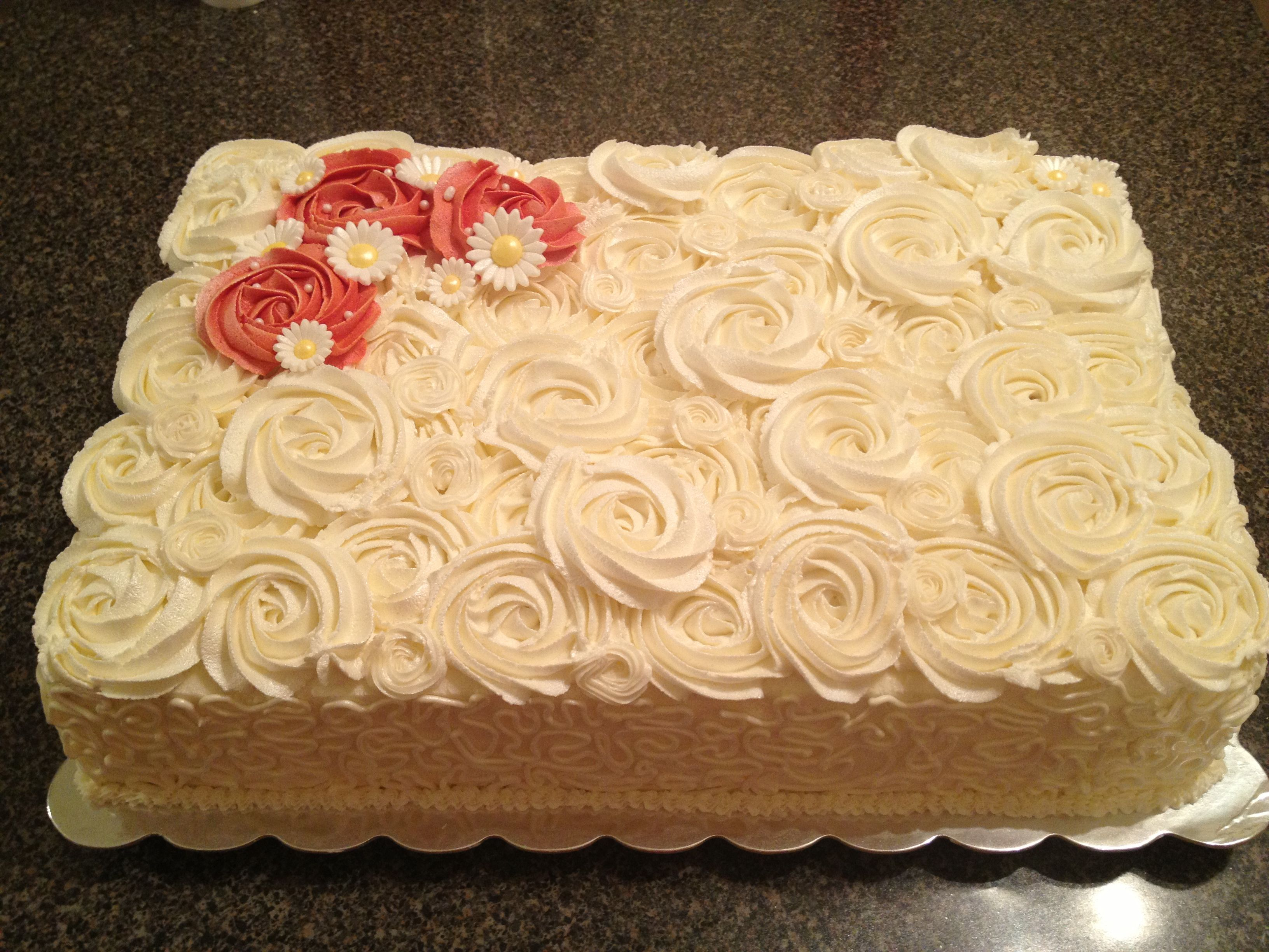 Red Orange And Yellow Rosette Cake