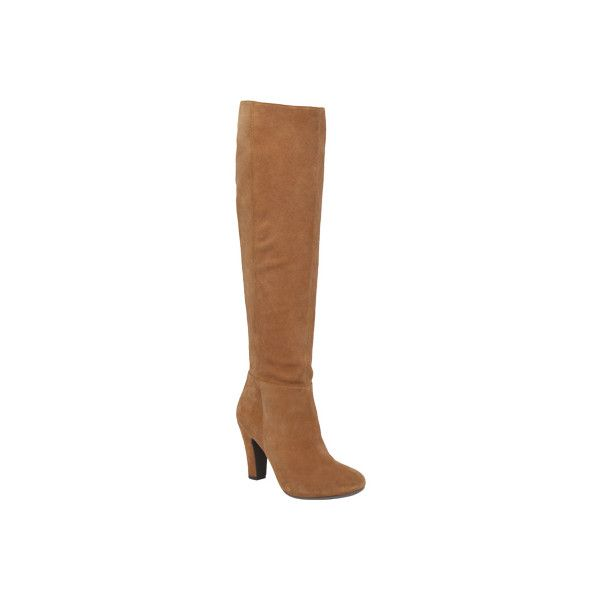Women's Jessica Simpson Ference Knee High Boot - Dakota Tan Split... (1 185 SEK) ❤ liked on Polyvore featuring shoes, boots, tan, round cap, tan suede knee high boots, suede leather boots, jessica simpson knee high boots and slipon boots