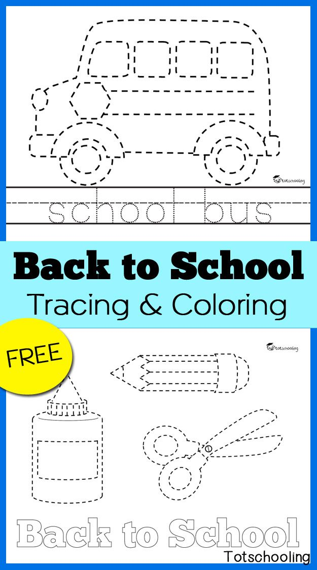 Back to School Tracing & Coloring Pages | Tracing pictures, Coloring ...