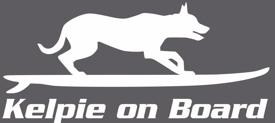 KELPIE ON BOARD  Dog sticker decal in BLACK