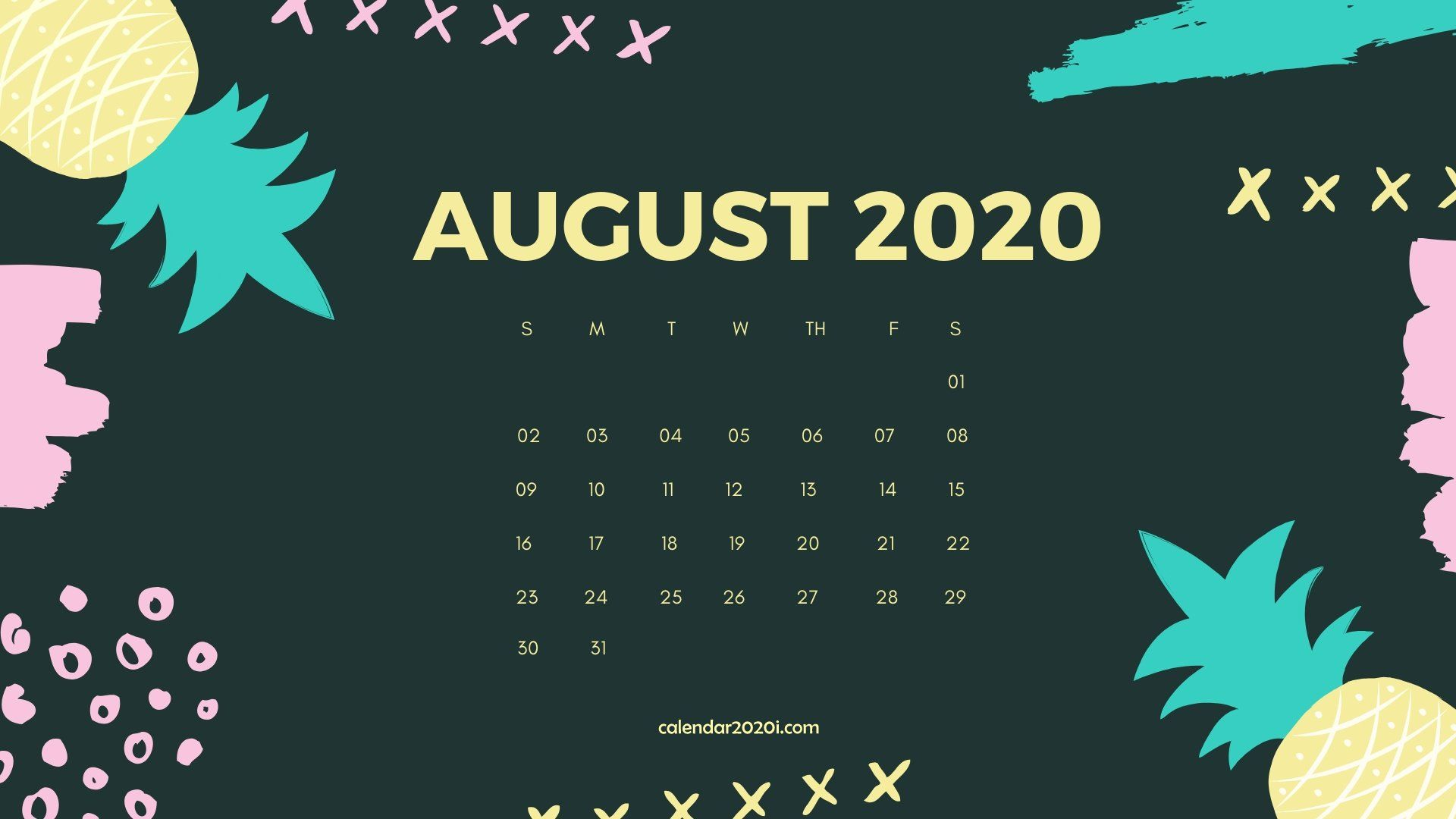 August 2020 Calendar Desktop Wallpaper | Calendar ...