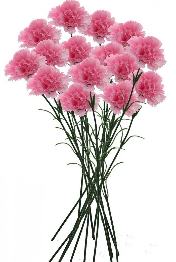Artificial Single Carnation Stems Set Of 15 Light Pink Flowers Online Flowers Flower Decorations