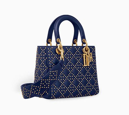 6894ff4e58ee SUPPLE LADY DIOR BAG Dior INDIGO BLUE STUDDED CALFSKIN