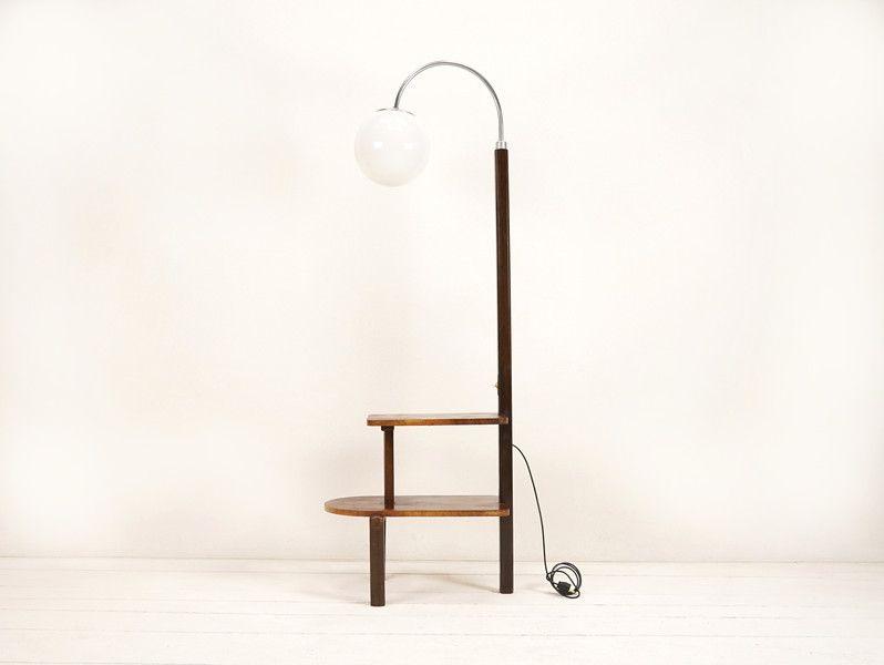 vintage stehlampen bogenleuchte bauhaus stehlampe mit tisch ein designerst ck von ferdinand. Black Bedroom Furniture Sets. Home Design Ideas
