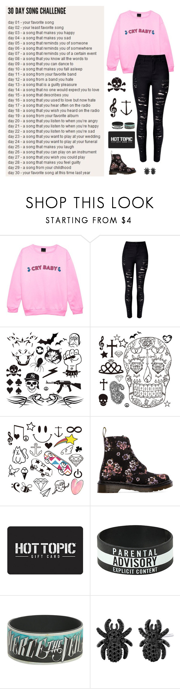 """""""30 Day Song Challenge// Day 14"""" by brokenpinkypromises ❤ liked on Polyvore featuring moda, Dr. Martens, women's clothing, women's fashion, women, female, woman, misses e juniors"""