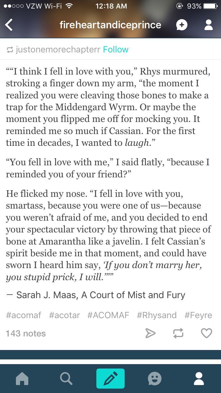 Awwww Everything Rhys Says Is Perfect A Court Of Mist And Fury