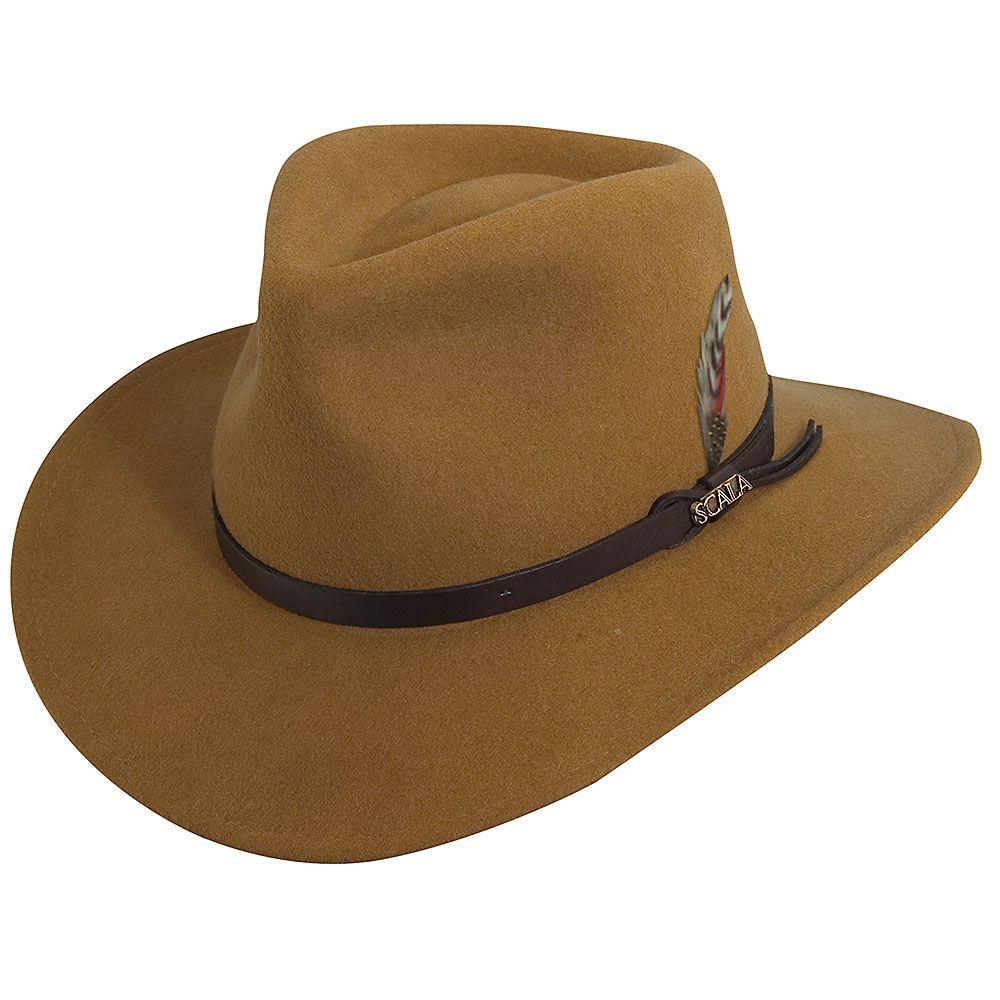 fcd421b1 Darwin - Scala DF6 Pecan Crushable Wool Felt Outback Hat in 2019 ...