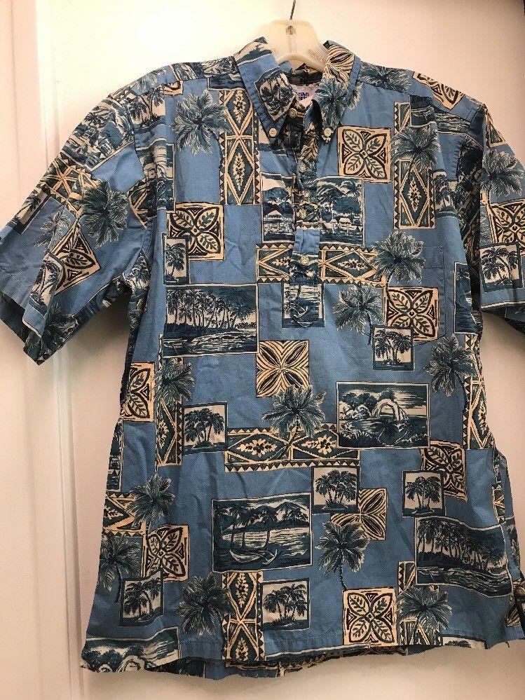 4e4ad29d Vtg Reyn Spooner Outrigger Marina Print Pullover Hawaiian Shirt M Hidden  Pocket #ReynSpooner #Hawaiian