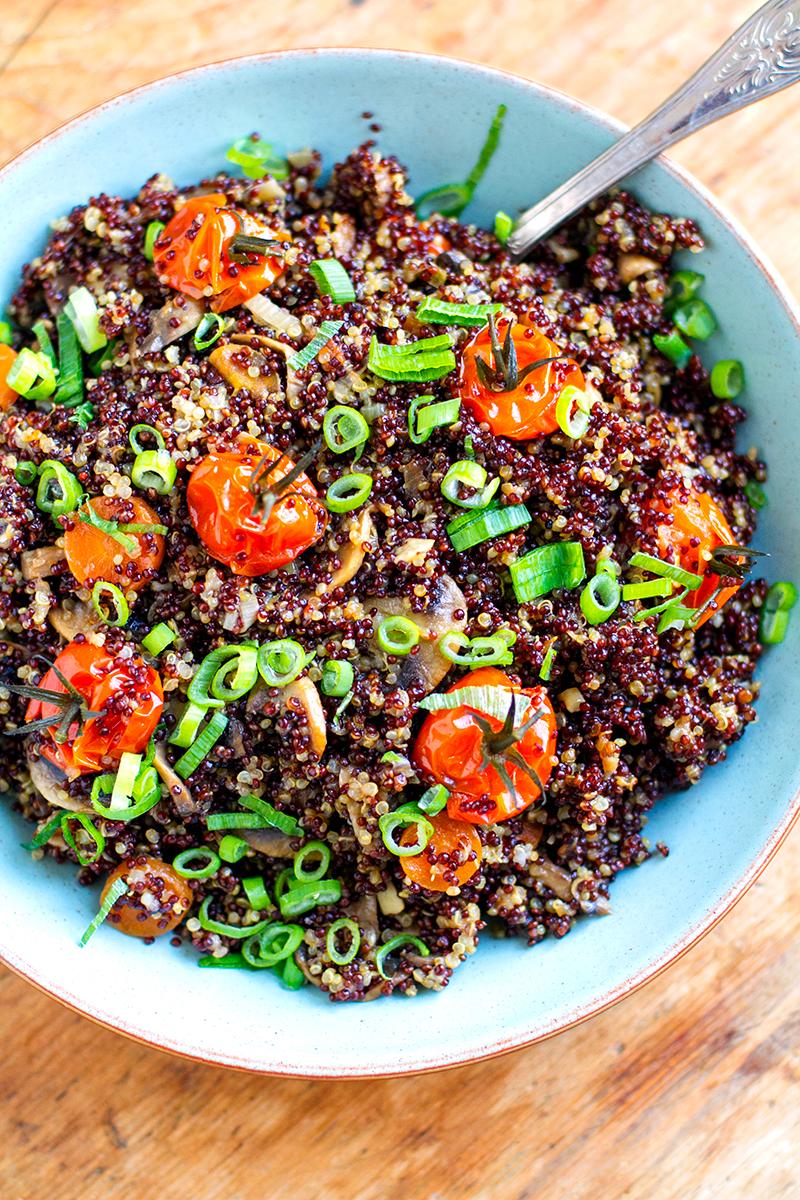 Garlic Mushroom Quinoa With Cherry Tomatoes - Instant Pot Recipe | Vegan, Gluten-Free, Dairy-Free