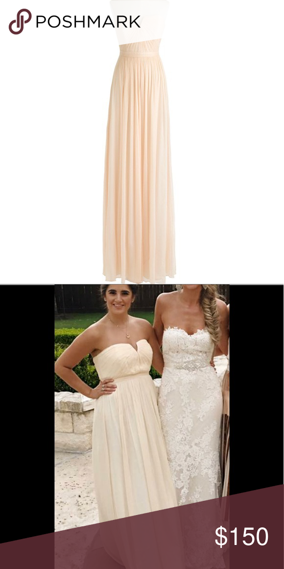 8ff920c19443 J Crew Nadia Dress Beautiful cream/champagne colored strapless long gown.  Chiffon silk size 6. Worn 1 time as a bridesmaid. Absolutely beautiful J.  Crew ...
