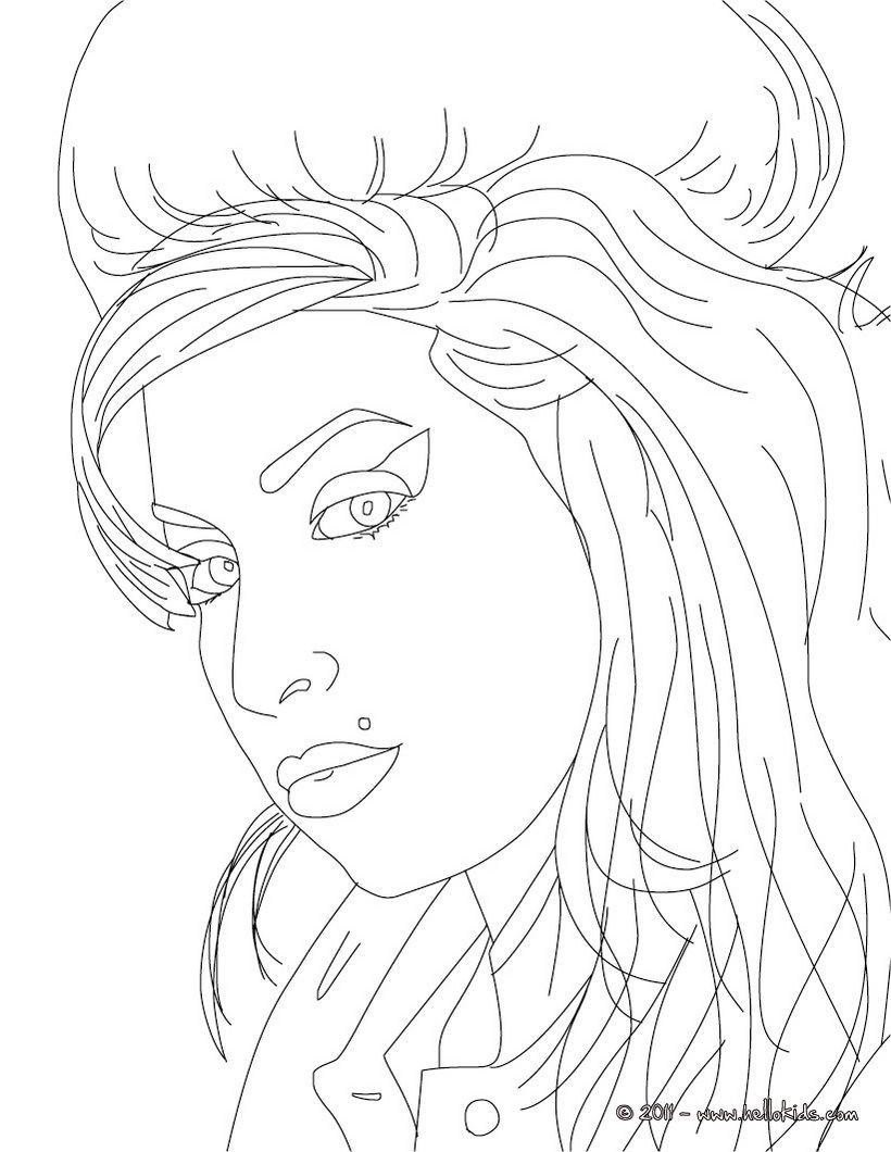 Amy Winehouse Printable Colouring Page Muziek Tekeningen Kleurplaten Portret Tekening