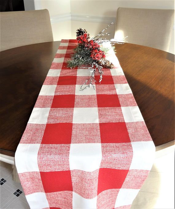 Red White Buffalo Check Table Runner Red Plaid Table Decor Wedding Party Decor Buffalo Plaid Table Runner Spring Table Runner Wedding Table Decorations