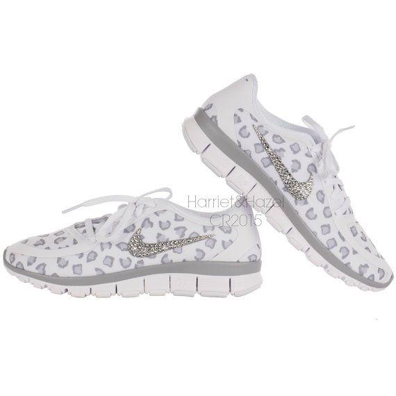 6b00366c76913 NEW Women's Nike Free 5.0 v4 White~Wolf Gray~Pure Platinum Cheetah/Leopard  print with Swarovski crystal details