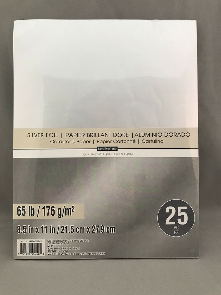 Recollections Silver Foil 65 Lb Cardstock Paper 25 Sheets 8 5 X11 Crafts Cards Recollections In 2020 Cardstock Paper Recollections Card Stock