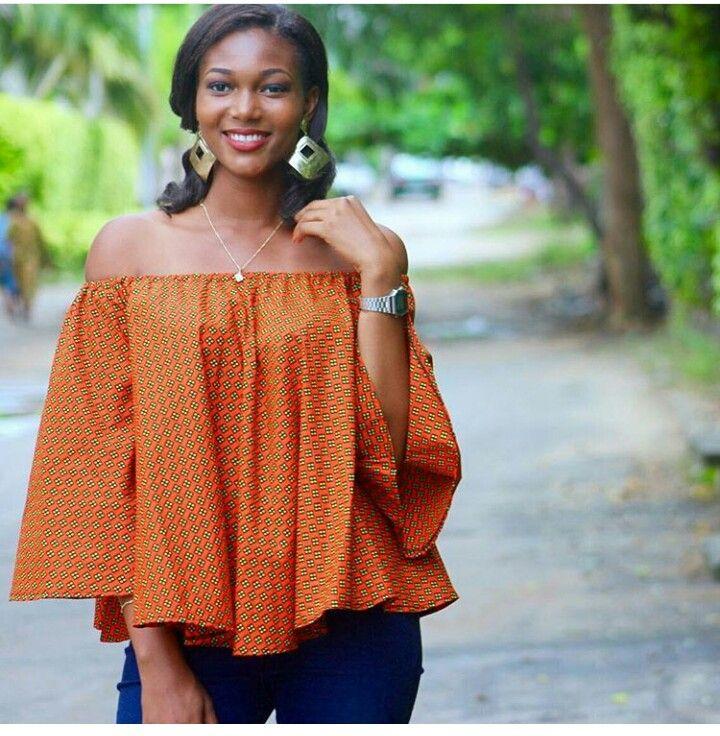 ANKARA TOPS + JEANS FASHION | Mode africaine | Pinterest
