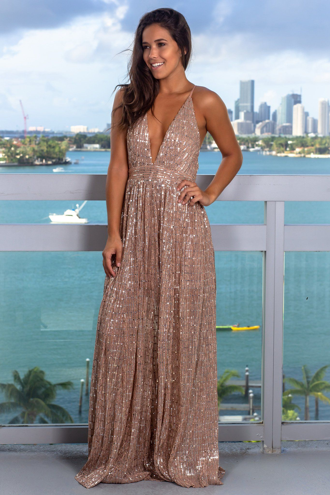 2206c548663 Mauve Sequin Maxi Dress with Criss Cross Back in 2019
