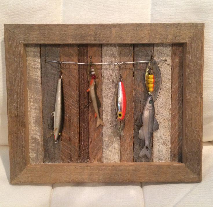 Fishing Home Decor: Ohio Barnwood Fishing Lure Display Follow FOSTERGINGER