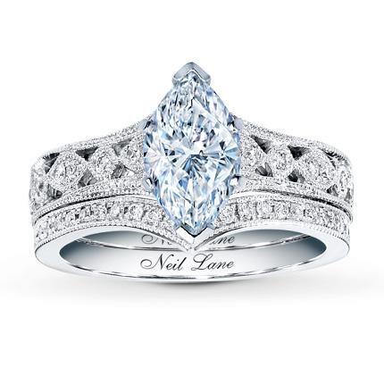 053 carat f i1 very good cut marquise diamond plus neil lane bridal setting 3 - Neil Lane Wedding Ring
