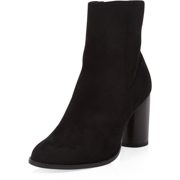 New Look Black Suedette Cylindrical Heel Ankle Boots (345 EGP) ❤ liked on Polyvore featuring shoes, boots, ankle booties, black, bootie boots, round toe ankle boots, block heel booties, black block heel booties and short boots