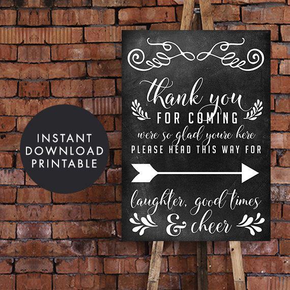 Printable Chalkboard Wedding Sign