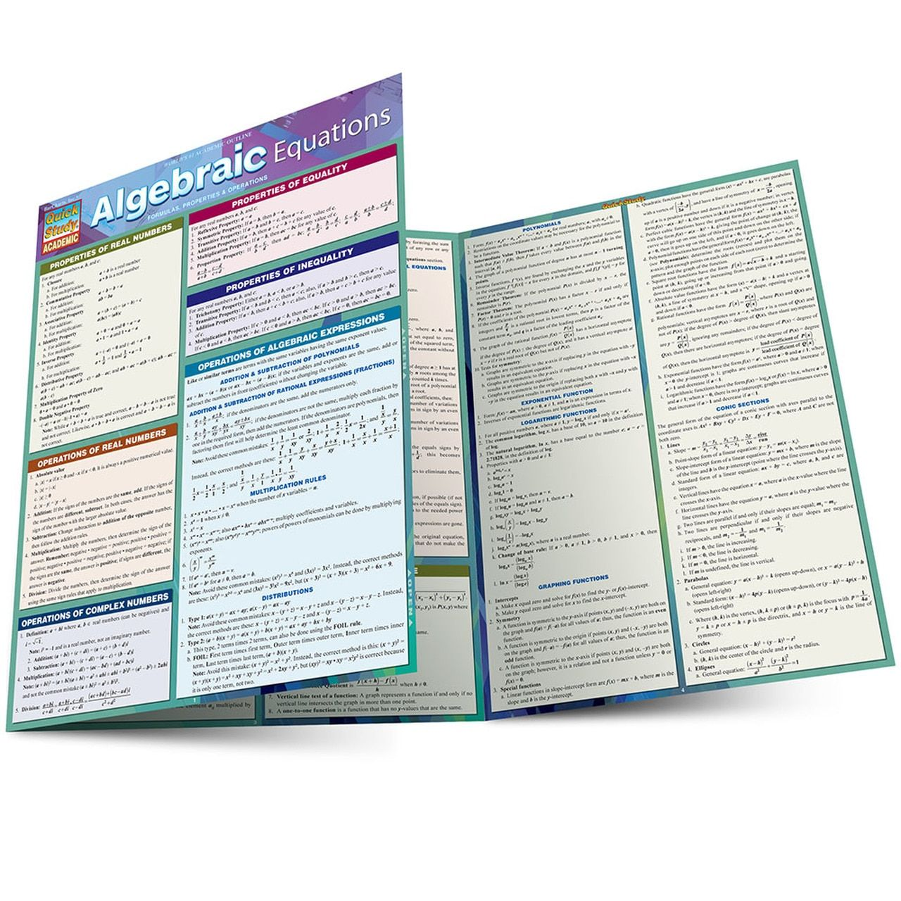 Quickstudy Algebraic Equations Laminated Study Guide