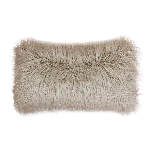 THRO Oatmeal Oblong Mongolian Pillow ($22) ❤ liked on Polyvore featuring home, home decor, throw pillows, oblong throw pillows, oblong toss pillows and faux fur throw pillows