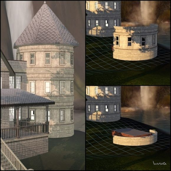 Two circular structures at Luna Sims Lulamai - Sims 3 Finds Sims - new sims 3 blueprint mode