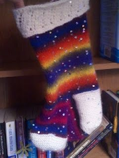 """every year i design a Stocking & Sock kit ~ this year, i kept it simple & used """"SPARKLY"""" yarn for the stocking"""